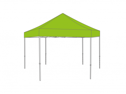 Folding tent aluminium frame and roof - hex 6m - Polyester