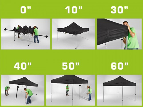Folding tent aluminium frame and roof - 4x8m - Polyester